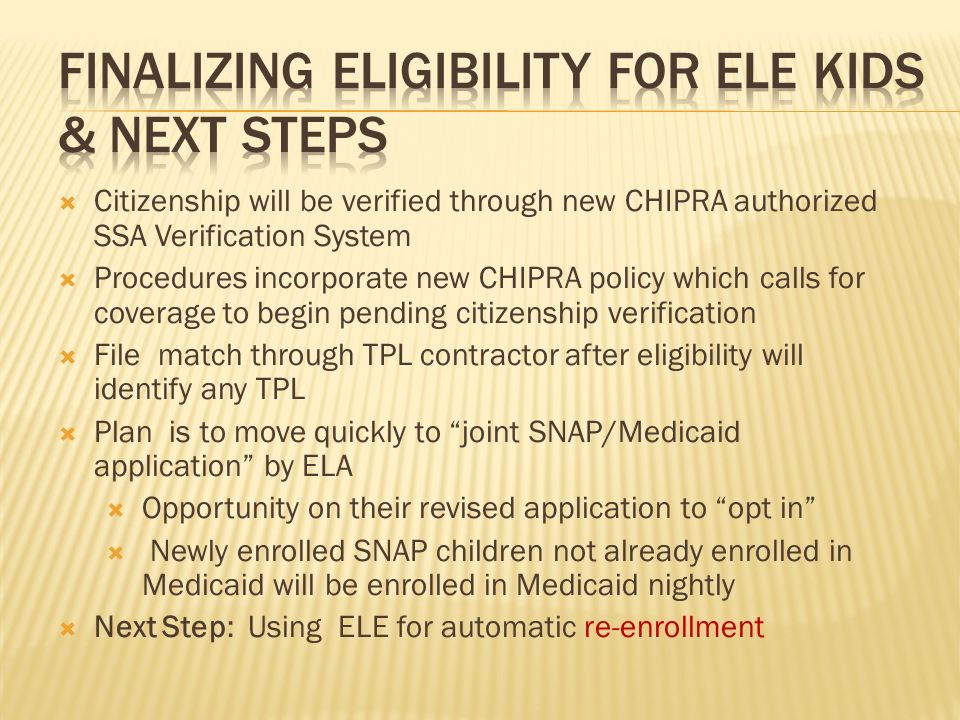 Citizenship will be verified through new CHIPRA authorized SSA Verification System Procedures incorporate new CHIPRA policy which calls for coverage t