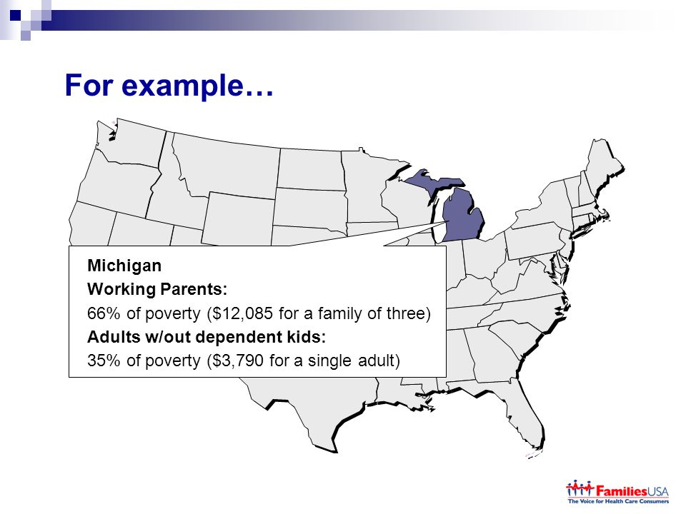 For example… Michigan Working Parents: 66% of poverty ($12,085 for a family of three) Adults w/out dependent kids: 35% of poverty ($3,790 for a single adult)
