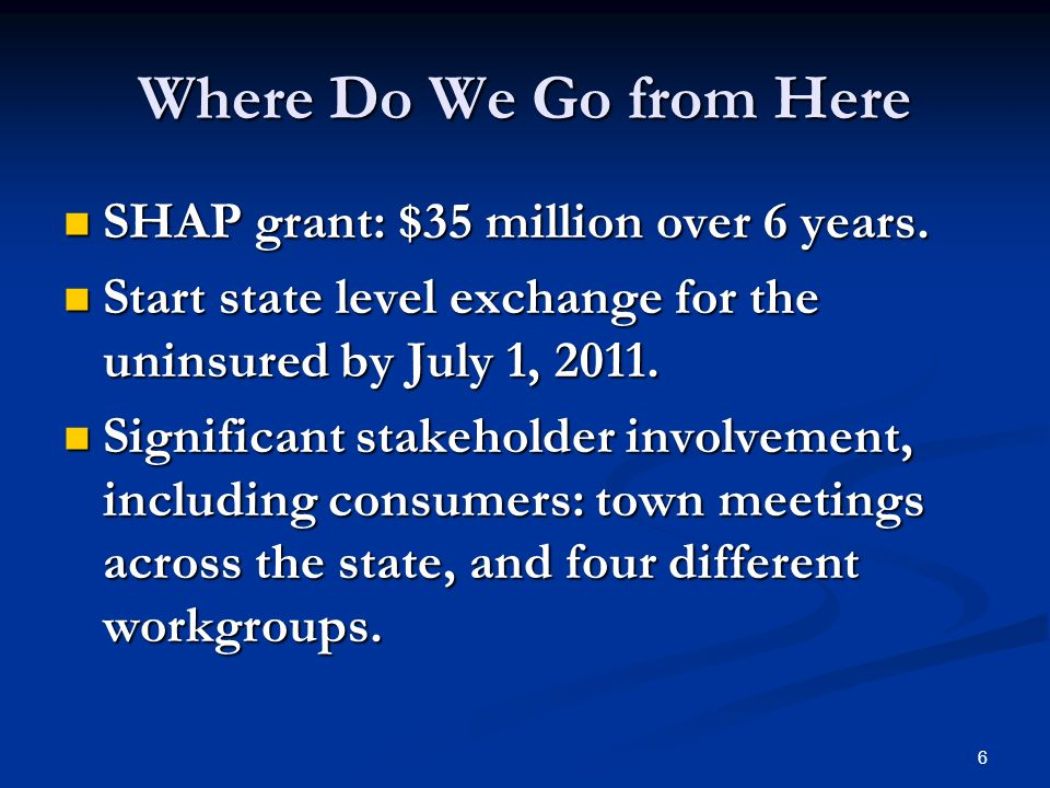 6 Where Do We Go from Here SHAP grant: $35 million over 6 years.