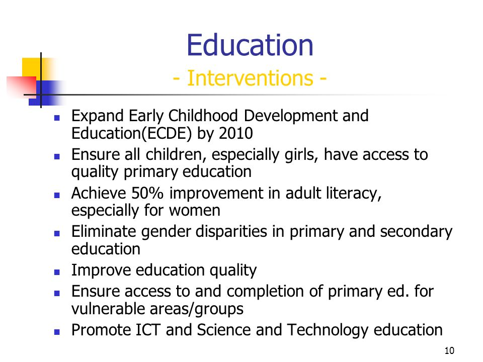 10 Education - Interventions - Expand Early Childhood Development and Education(ECDE) by 2010 Ensure all children, especially girls, have access to quality primary education Achieve 50% improvement in adult literacy, especially for women Eliminate gender disparities in primary and secondary education Improve education quality Ensure access to and completion of primary ed.