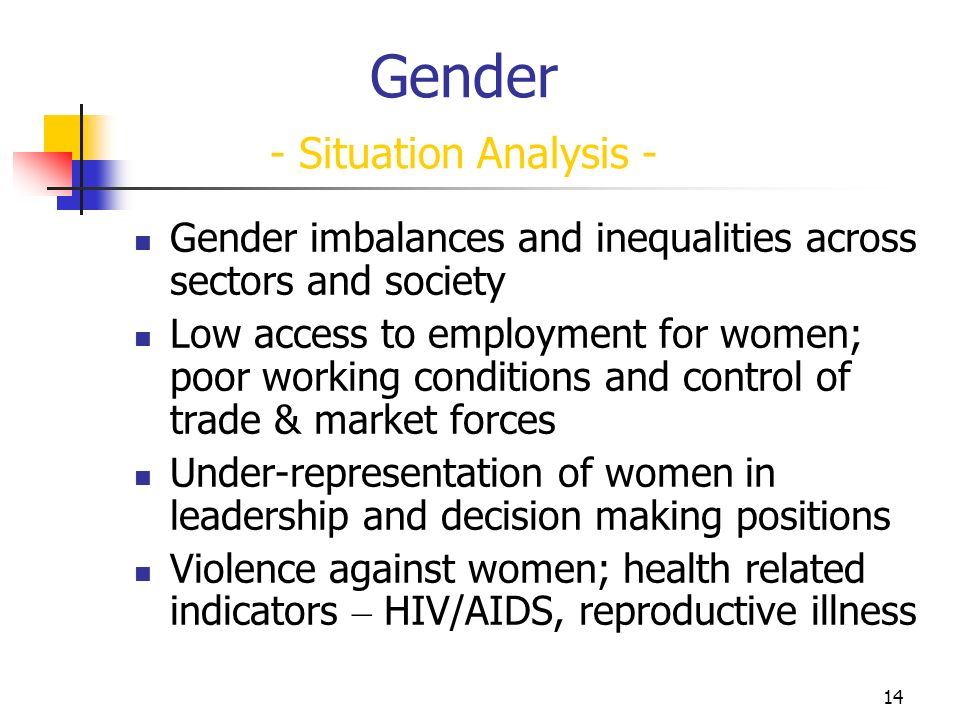 14 Gender - Situation Analysis - Gender imbalances and inequalities across sectors and society Low access to employment for women; poor working conditions and control of trade & market forces Under-representation of women in leadership and decision making positions Violence against women; health related indicators – HIV/AIDS, reproductive illness