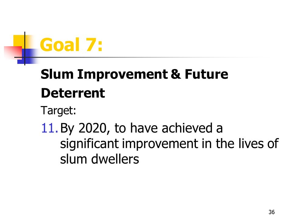36 Goal 7: Slum Improvement & Future Deterrent Target: 11.By 2020, to have achieved a significant improvement in the lives of slum dwellers