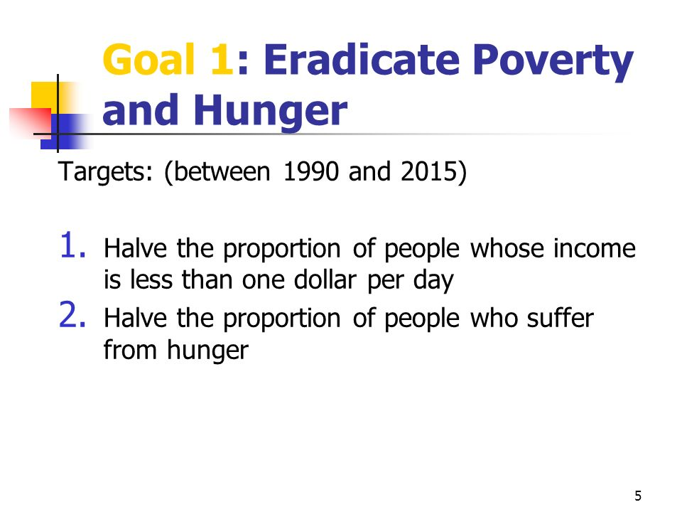 5 Goal 1: Eradicate Poverty and Hunger Targets: (between 1990 and 2015) 1.
