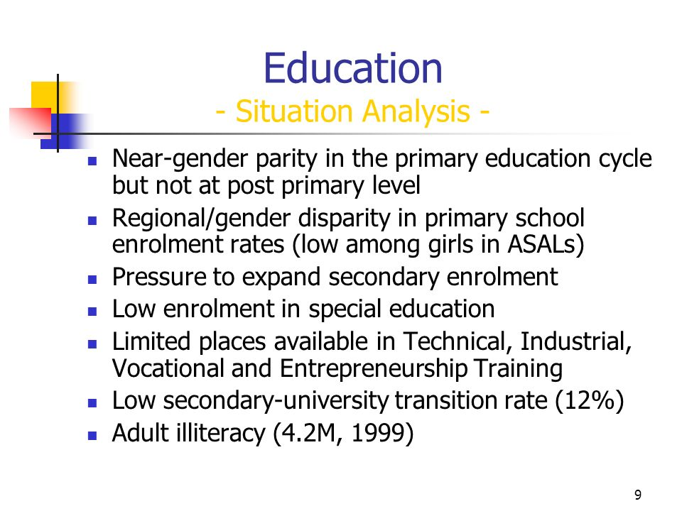 9 Education - Situation Analysis - Near-gender parity in the primary education cycle but not at post primary level Regional/gender disparity in primary school enrolment rates (low among girls in ASALs) Pressure to expand secondary enrolment Low enrolment in special education Limited places available in Technical, Industrial, Vocational and Entrepreneurship Training Low secondary-university transition rate (12%) Adult illiteracy (4.2M, 1999)