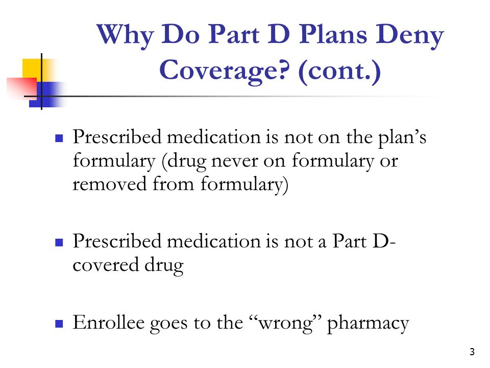 4 Action Steps When Part D Plans Deny Coverage Ask plan why the drug was denied coverage Talk to prescriber about alternative drugs that are on the plans formulary Ask the prescribing doctor to adhere to plan rules about utilization management tools Seek a formulary exception from the plan