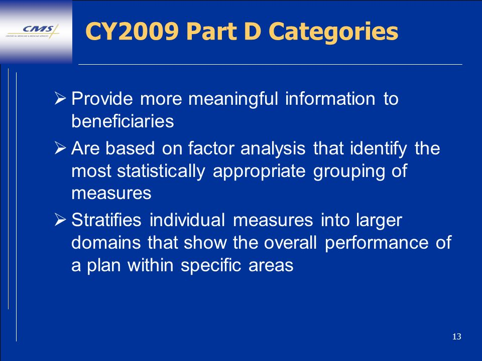 13 CY2009 Part D Categories Provide more meaningful information to beneficiaries Are based on factor analysis that identify the most statistically appropriate grouping of measures Stratifies individual measures into larger domains that show the overall performance of a plan within specific areas