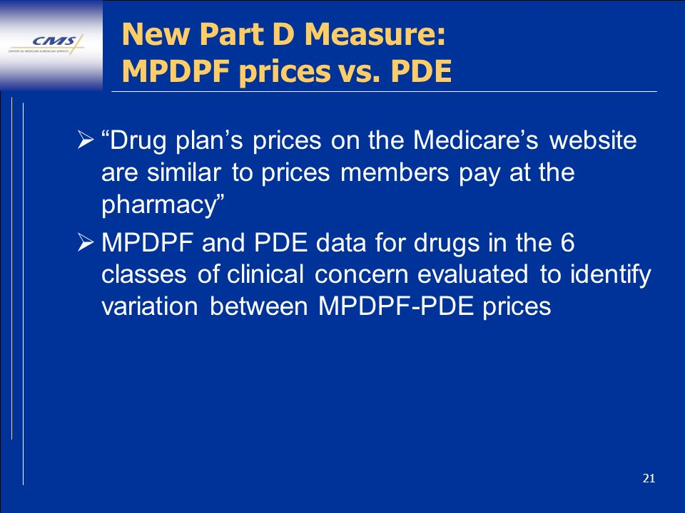 21 New Part D Measure: MPDPF prices vs.