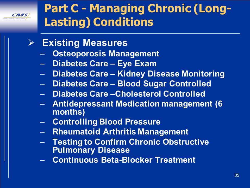 35 Part C - Managing Chronic (Long- Lasting) Conditions Existing Measures –Osteoporosis Management –Diabetes Care – Eye Exam –Diabetes Care – Kidney Disease Monitoring –Diabetes Care – Blood Sugar Controlled –Diabetes Care –Cholesterol Controlled –Antidepressant Medication management (6 months) –Controlling Blood Pressure –Rheumatoid Arthritis Management –Testing to Confirm Chronic Obstructive Pulmonary Disease –Continuous Beta-Blocker Treatment