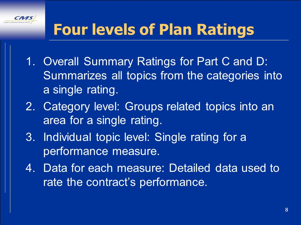 8 Four levels of Plan Ratings 1.Overall Summary Ratings for Part C and D: Summarizes all topics from the categories into a single rating. 2.Category l