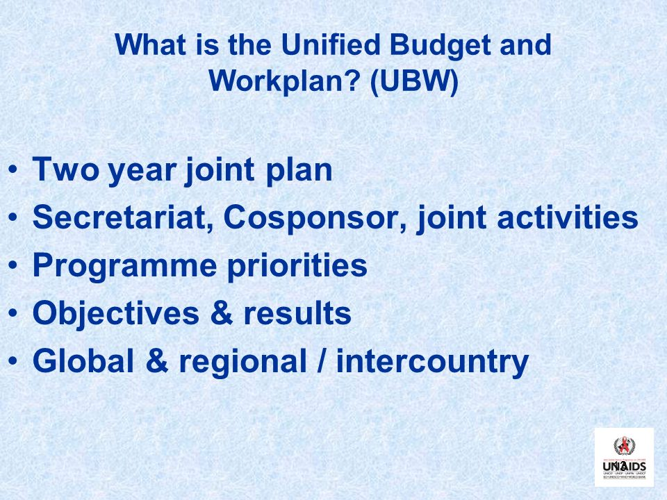 13 What is the Unified Budget and Workplan.