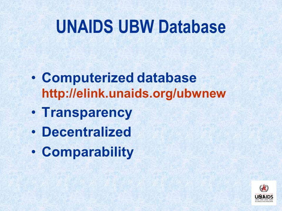 31 UNAIDS UBW Database Computerized database http://elink.unaids.org/ubwnew Transparency Decentralized Comparability