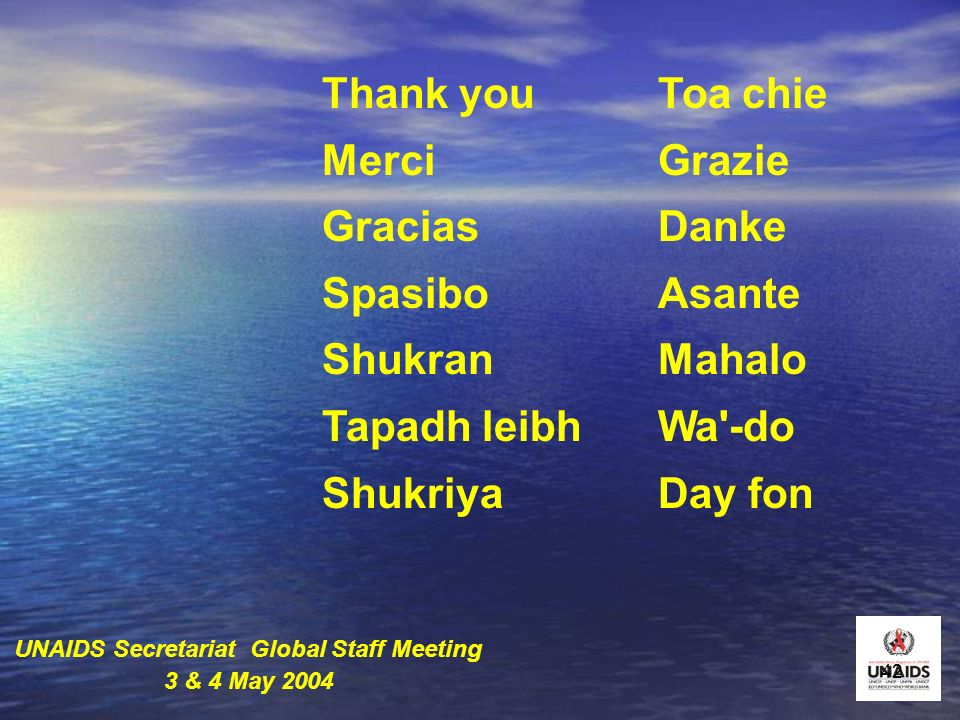 42 Thank you Merci Gracias Spasibo Shukran Tapadh leibh Shukriya Toa chie Grazie Danke Asante Mahalo Wa -do Day fon UNAIDS Secretariat Global Staff Meeting 3 & 4 May 2004