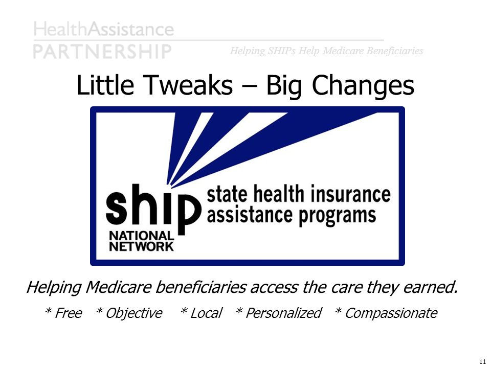 Helping SHIPs Help Medicare Beneficiaries 11 Little Tweaks – Big Changes Helping Medicare beneficiaries access the care they earned. * Free * Objectiv