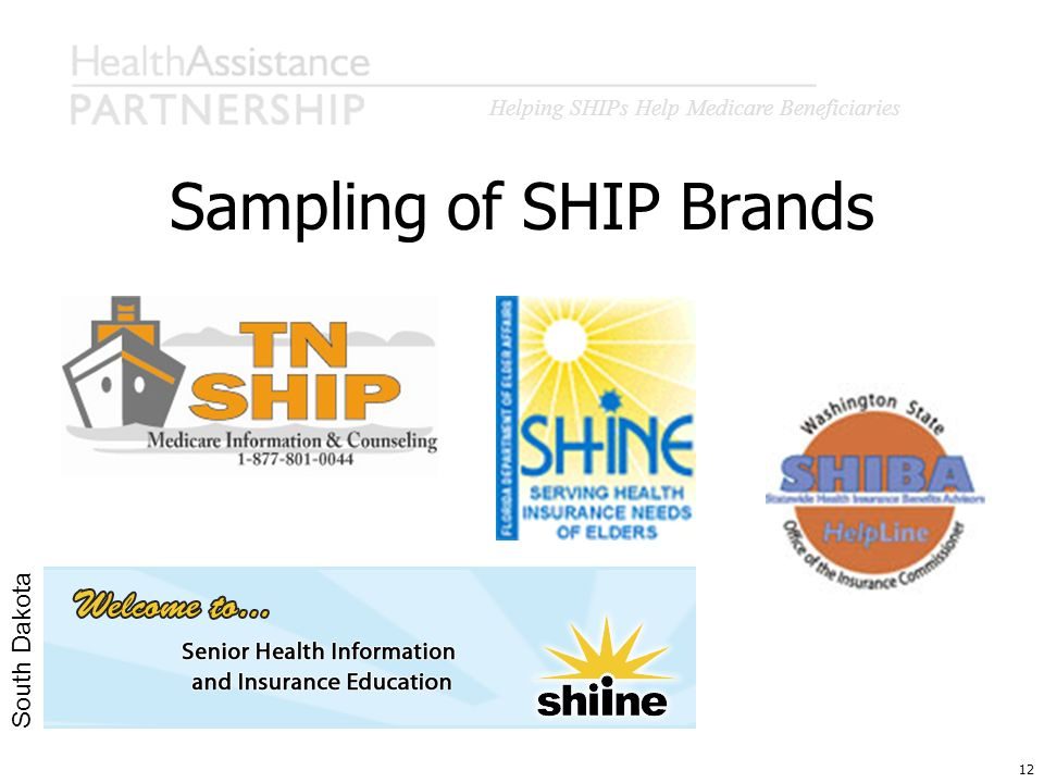 Helping SHIPs Help Medicare Beneficiaries 12 Sampling of SHIP Brands South Dakota