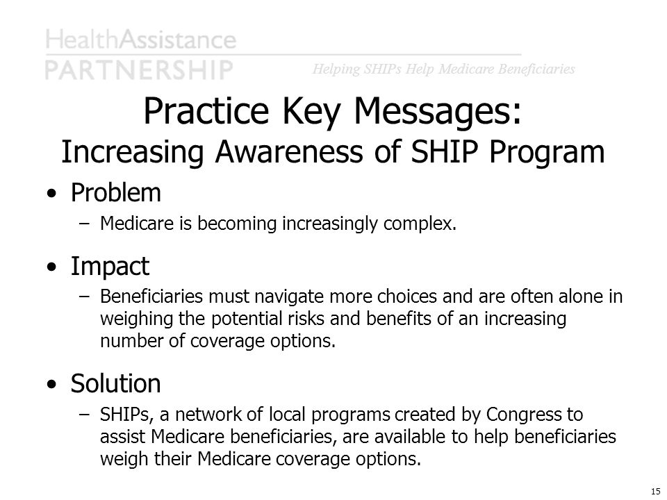Helping SHIPs Help Medicare Beneficiaries 15 Practice Key Messages: Increasing Awareness of SHIP Program Problem –Medicare is becoming increasingly co
