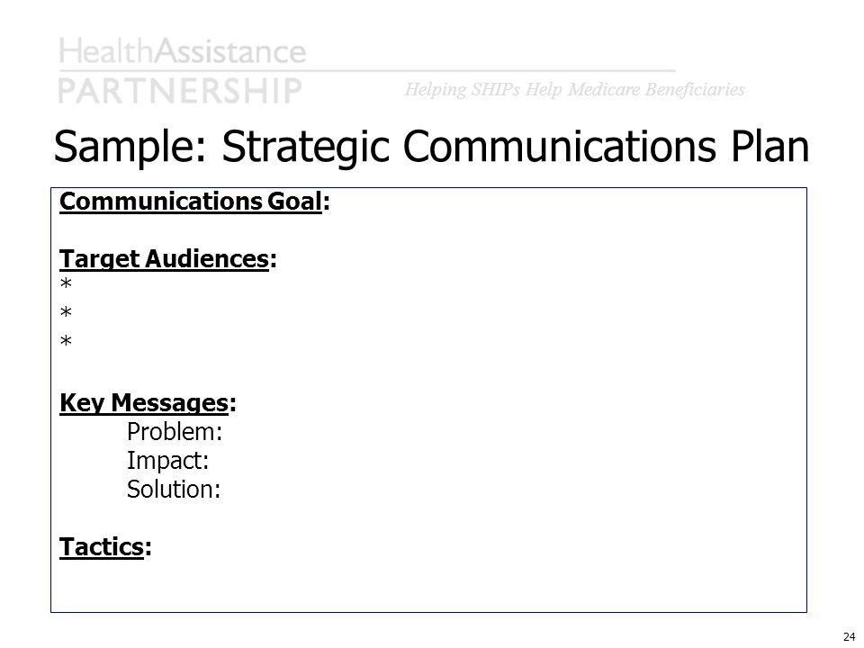 Helping SHIPs Help Medicare Beneficiaries 24 Sample: Strategic Communications Plan Communications Goal: Target Audiences: * Key Messages: Problem: Imp