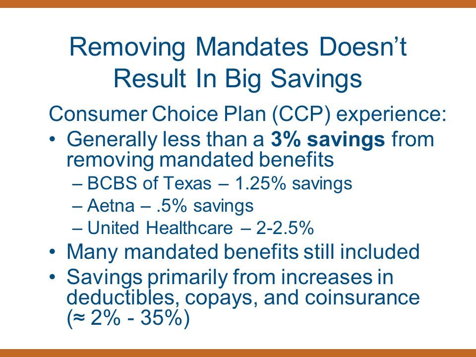 Removing Mandates Doesnt Result In Big Savings Consumer Choice Plan (CCP) experience: Generally less than a 3% savings from removing mandated benefits –BCBS of Texas – 1.25% savings –Aetna –.5% savings –United Healthcare – 2-2.5% Many mandated benefits still included Savings primarily from increases in deductibles, copays, and coinsurance ( 2% - 35%)