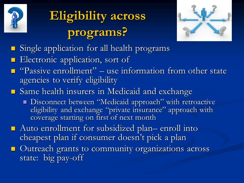 Eligibility across programs.