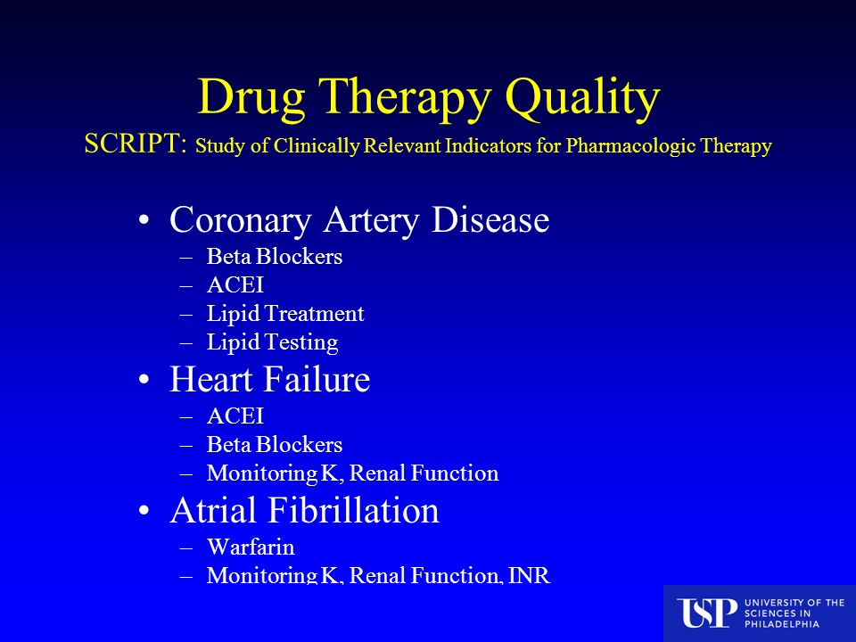 Drug Therapy Quality SCRIPT: Study of Clinically Relevant Indicators for Pharmacologic Therapy Coronary Artery Disease –Beta Blockers –ACEI –Lipid Treatment –Lipid Testing Heart Failure –ACEI –Beta Blockers –Monitoring K, Renal Function Atrial Fibrillation –Warfarin –Monitoring K, Renal Function, INR CMS Funded Study 7/16/04