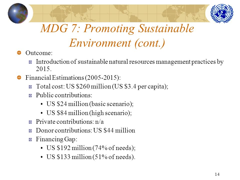14 MDG 7: Promoting Sustainable Environment (cont.) Outcome: Introduction of sustainable natural resources management practices by 2015.