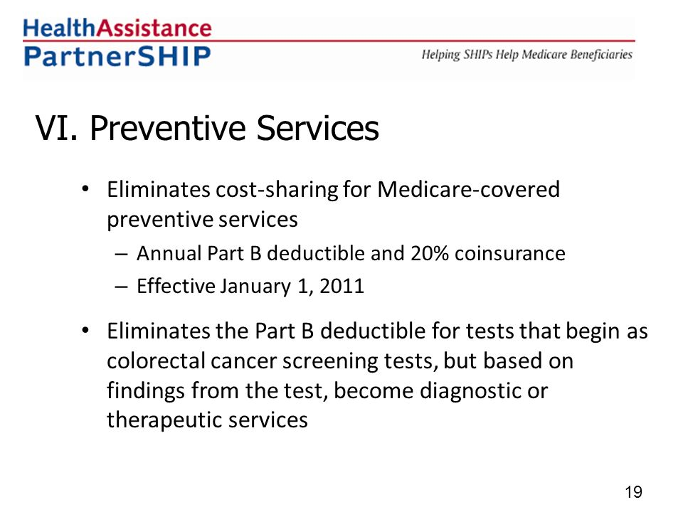 VI. Preventive Services Eliminates cost-sharing for Medicare-covered preventive services – Annual Part B deductible and 20% coinsurance – Effective Ja