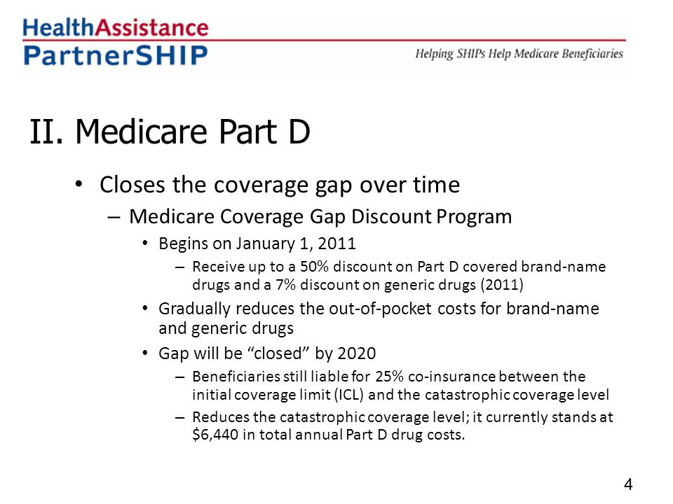 II. Medicare Part D Closes the coverage gap over time – Medicare Coverage Gap Discount Program Begins on January 1, 2011 – Receive up to a 50% discoun