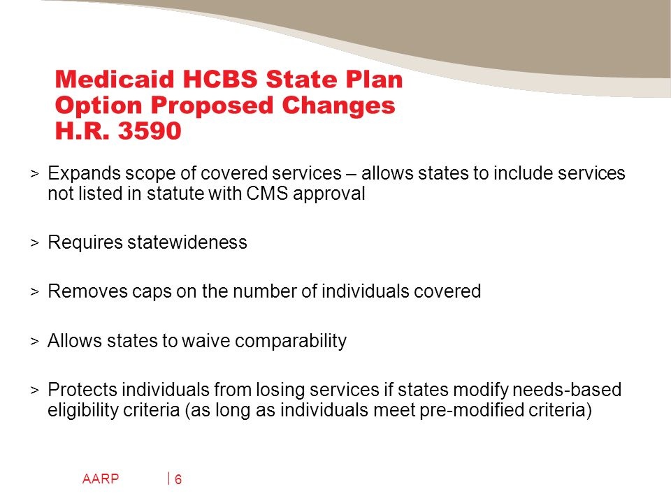 AARP 7 Medicaid HCBS State Plan Option Proposed Changes H.R.