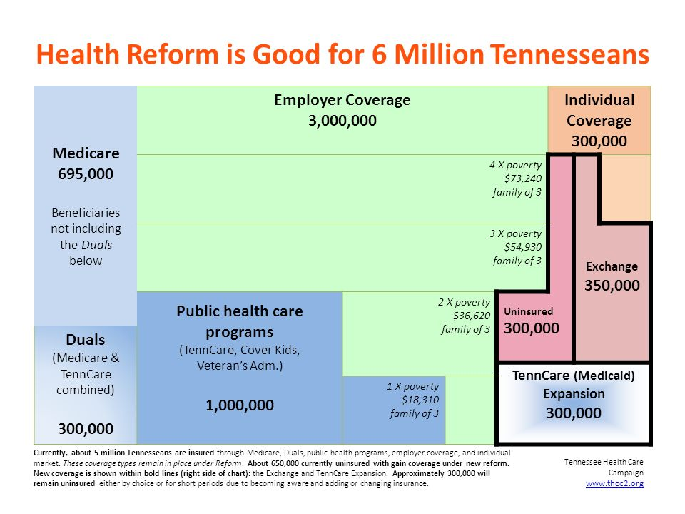 Health Reform is Good for 6 Million Tennesseans Medicare 695,000 Beneficiaries not including the Duals below Employer Coverage 3,000,000 Individual Coverage 300,000 4 X poverty $73,240 family of 3 3 X poverty $54,930 family of 3 Exchange 350,000 Public health care programs (TennCare, Cover Kids, Veterans Adm.) 1,000,000 2 X poverty $36,620 family of 3 Uninsured 300,000 Duals (Medicare & TennCare combined) 300,000 TennCare (Medicaid) Expansion 300,000 1 X poverty $18,310 family of 3 Tennessee Health Care Campaign www.thcc2.org Currently, about 5 million Tennesseans are insured through Medicare, Duals, public health programs, employer coverage, and individual market.