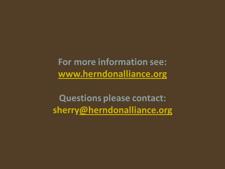 For more information see: www.herndonalliance.org Questions please contact: sherry@herndonalliance.org@herndonalliance.org