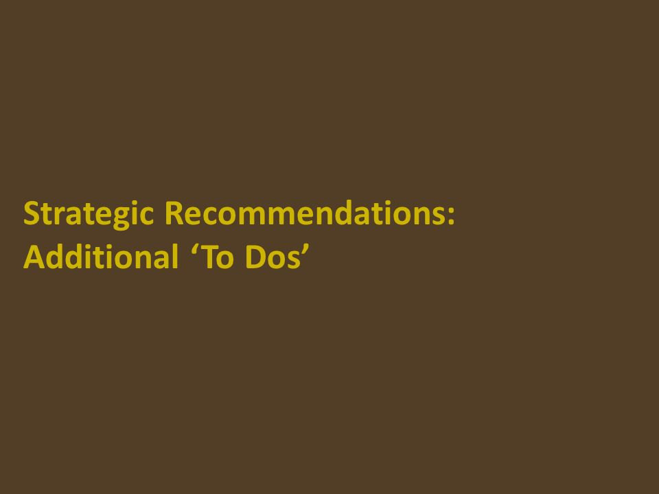 Strategic Recommendations: Additional To Dos