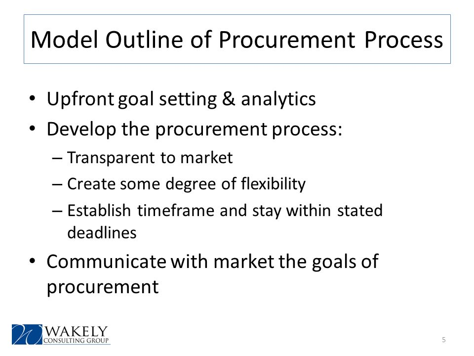 Model Outline of Procurement Process Upfront goal setting & analytics Develop the procurement process: – Transparent to market – Create some degree of flexibility – Establish timeframe and stay within stated deadlines Communicate with market the goals of procurement 5