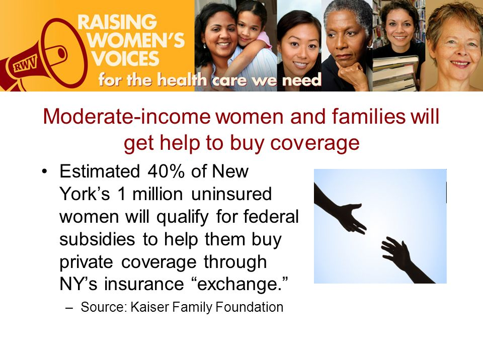 Moderate-income women and families will get help to buy coverage Estimated 40% of New Yorks 1 million uninsured women will qualify for federal subsidi