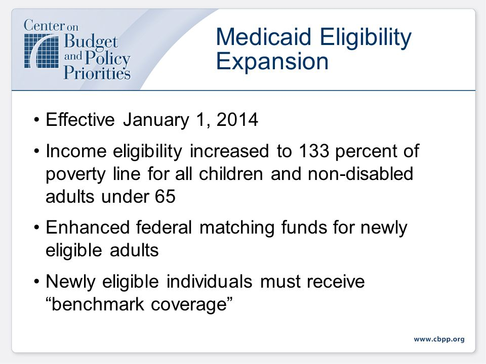 Medicaid Eligibility in 2014 New federal minimum starting in 2014, except for elderly/disabled Note: Figures for parents represent the national median, rather than the federal minimum