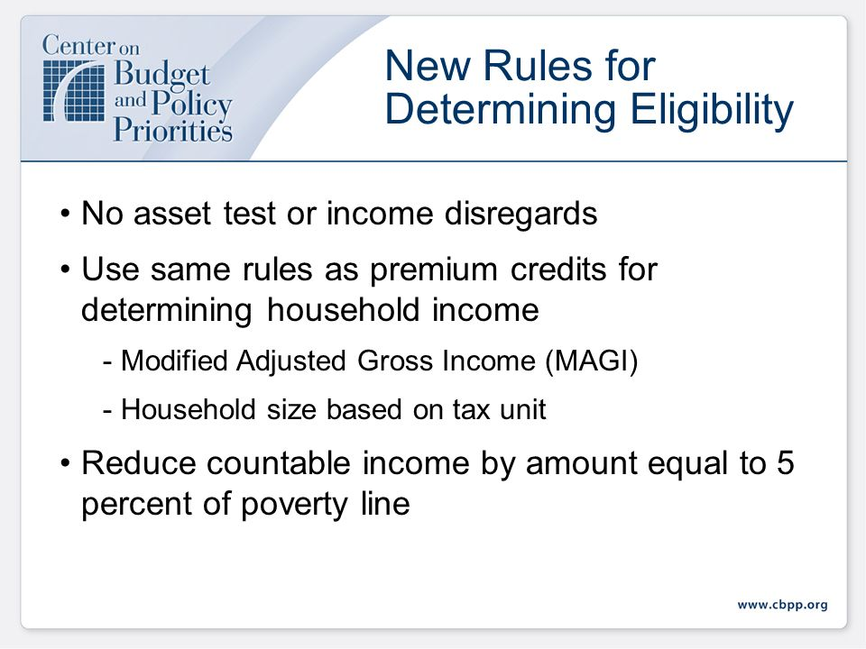 Effective January 1, 2014 Income eligibility increased to 133 percent of poverty line for all children and non-disabled adults under 65 Enhanced feder