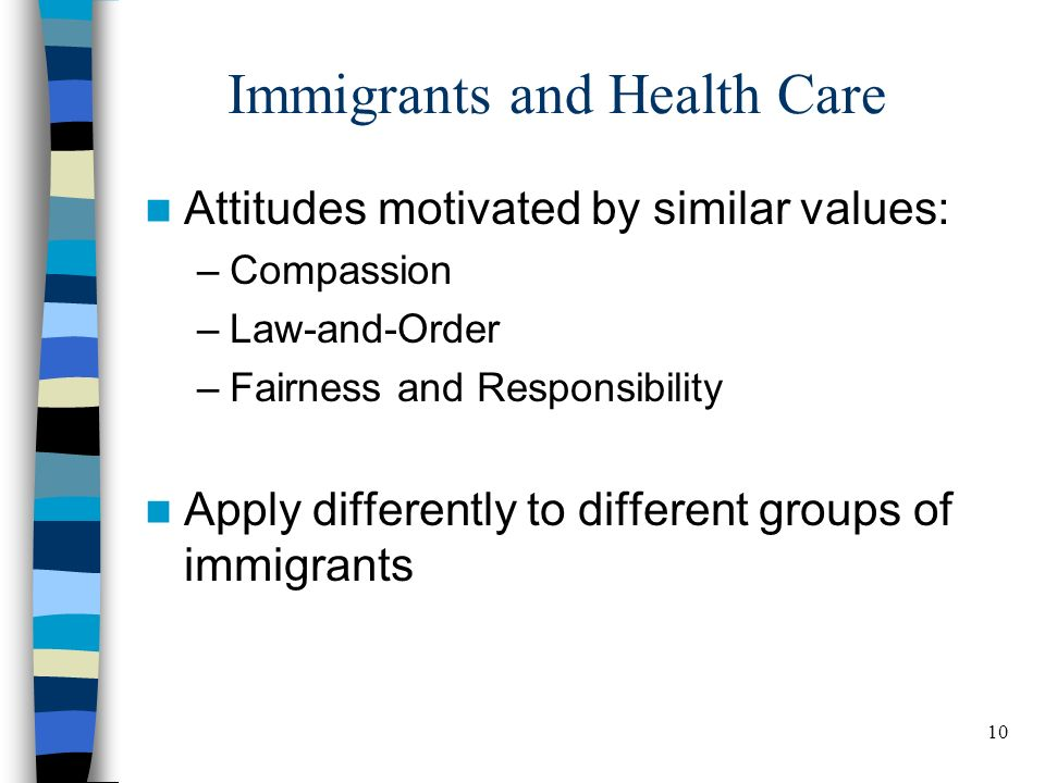 10 Immigrants and Health Care Attitudes motivated by similar values: –Compassion –Law-and-Order –Fairness and Responsibility Apply differently to different groups of immigrants BELDEN RUSSONELLO & STEWART R E S E A R C H A N D C O M M U N I C A T I O N S 10