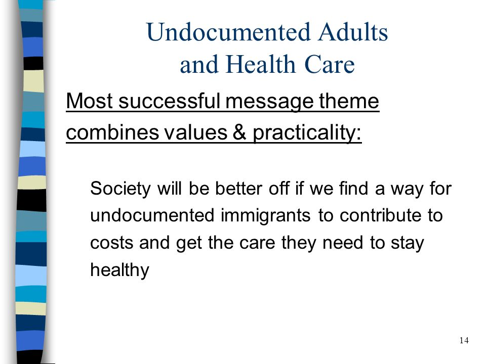 14 BELDEN RUSSONELLO & STEWART R E S E A R C H A N D C O M M U N I C A T I O N S 14 Undocumented Adults and Health Care Most successful message theme