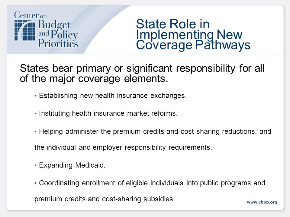 Federal Financial Support for State Health Reform Implementation Edwin Park Center on Budget and Policy Priorities From Vision to Reality: State Strategies for Health Reform Implementation November 10, 2010