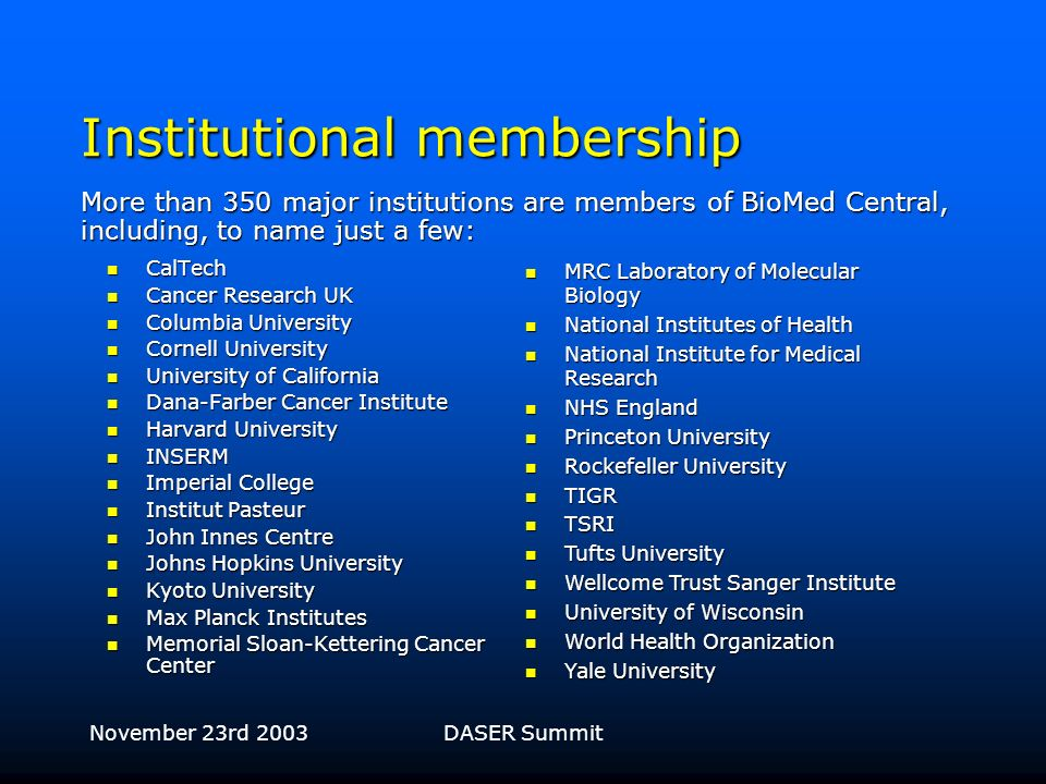 November 23rd 2003DASER Summit BioMed Centrals business model for open access publishing Keep costs down via Keep costs down via –Online submission an