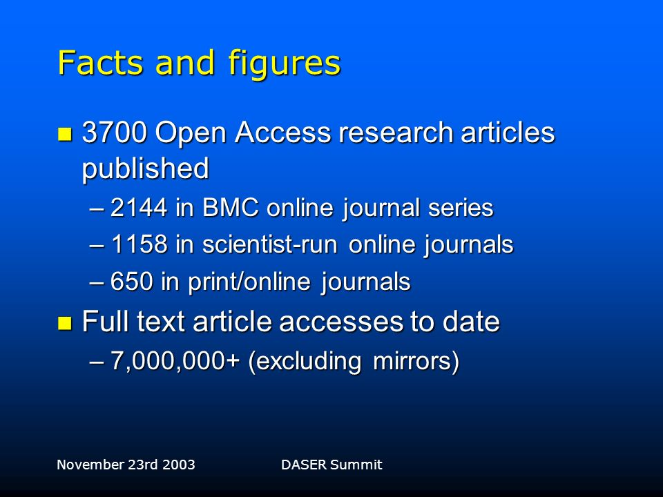 November 23rd 2003DASER Summit Growth of BioMed Central