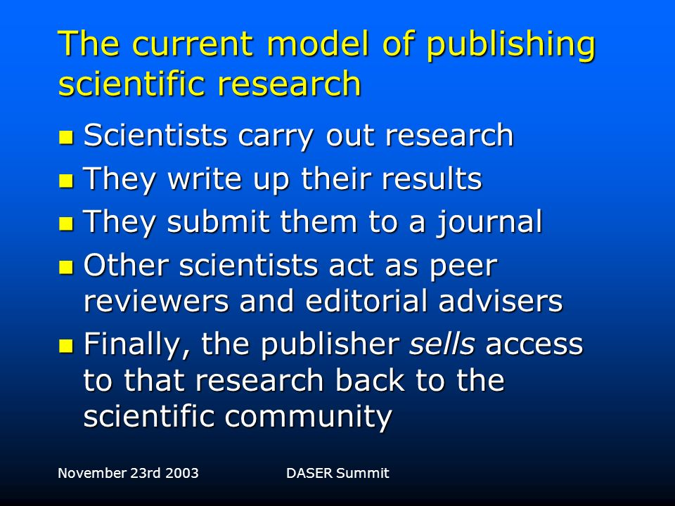 November 23rd 2003DASER Summit Summary of talk What is Open Access Publishing and why is it necessary.