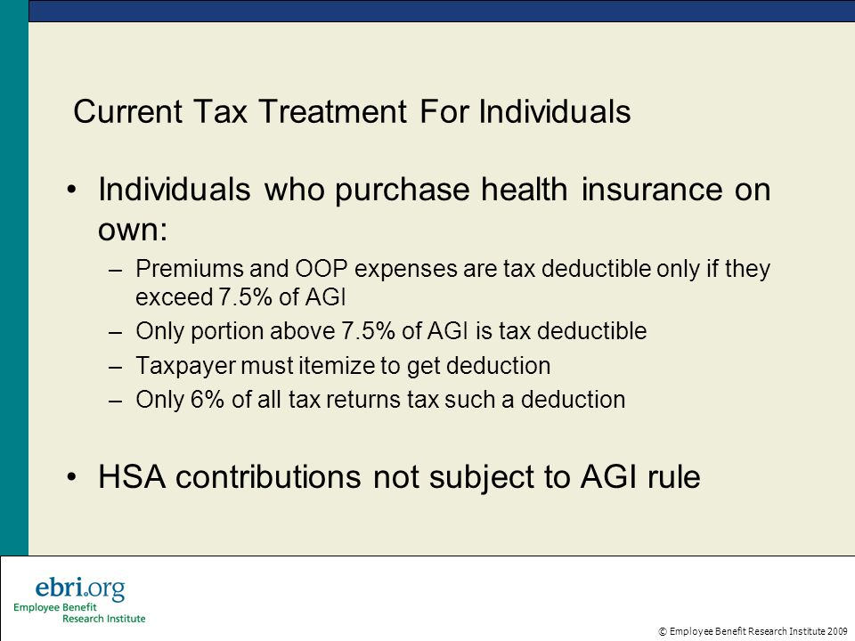 © Employee Benefit Research Institute 2009 Current Tax Treatment For Individuals Individuals who purchase health insurance on own: –Premiums and OOP e