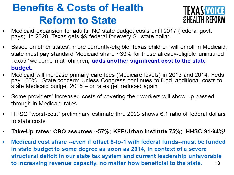 18 Medicaid expansion for adults: NO state budget costs until 2017 (federal govt.