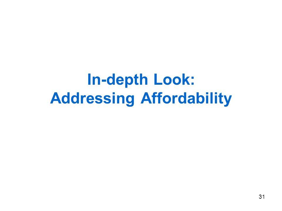 31 In-depth Look: Addressing Affordability
