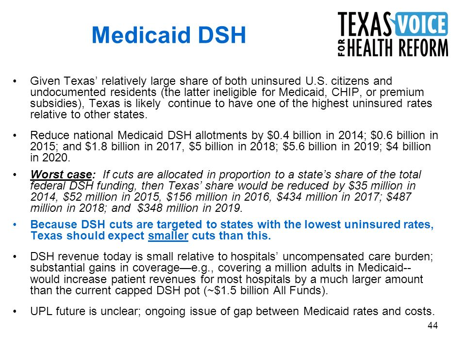 44 Medicaid DSH Given Texas relatively large share of both uninsured U.S. citizens and undocumented residents (the latter ineligible for Medicaid, CHI