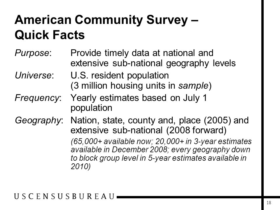 18 American Community Survey – Quick Facts Purpose: Provide timely data at national and extensive sub-national geography levels Universe: U.S. residen