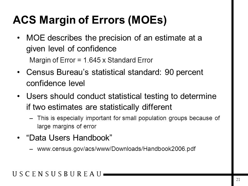 21 ACS Margin of Errors (MOEs) MOE describes the precision of an estimate at a given level of confidence Margin of Error = 1.645 x Standard Error Cens