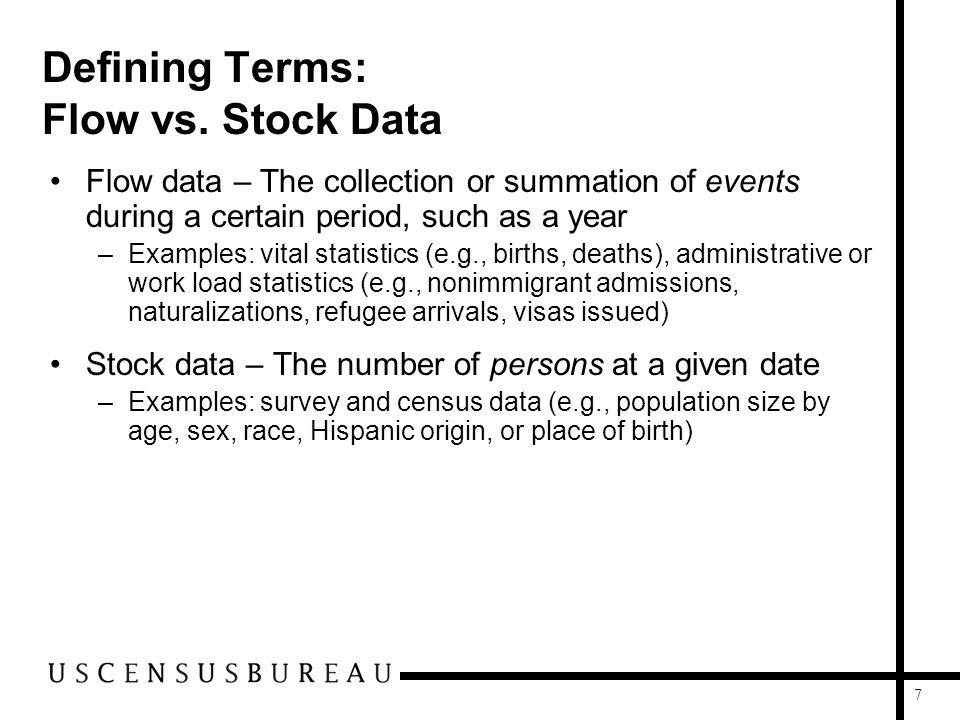 7 Defining Terms: Flow vs. Stock Data Flow data – The collection or summation of events during a certain period, such as a year –Examples: vital stati