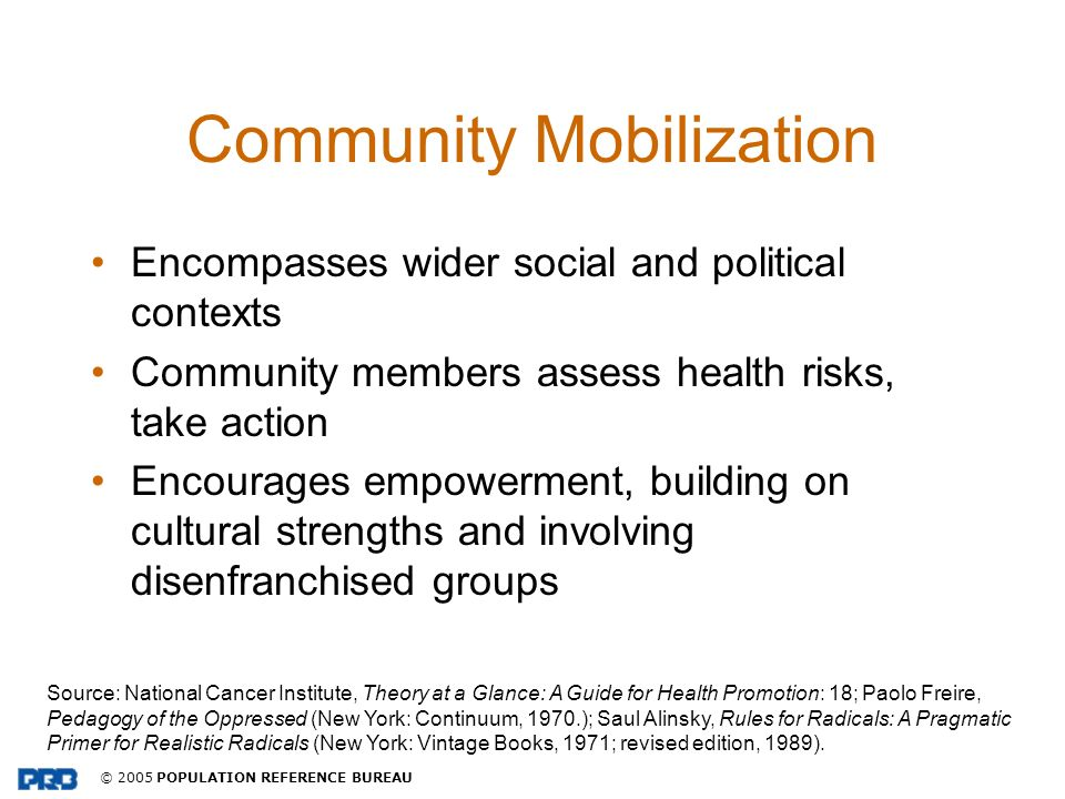 © 2005 POPULATION REFERENCE BUREAU Community Mobilization Encompasses wider social and political contexts Community members assess health risks, take