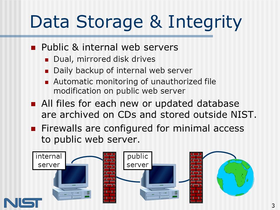 3 Data Storage & Integrity Public & internal web servers Dual, mirrored disk drives Daily backup of internal web server Automatic monitoring of unauthorized file modification on public web server All files for each new or updated database are archived on CDs and stored outside NIST.