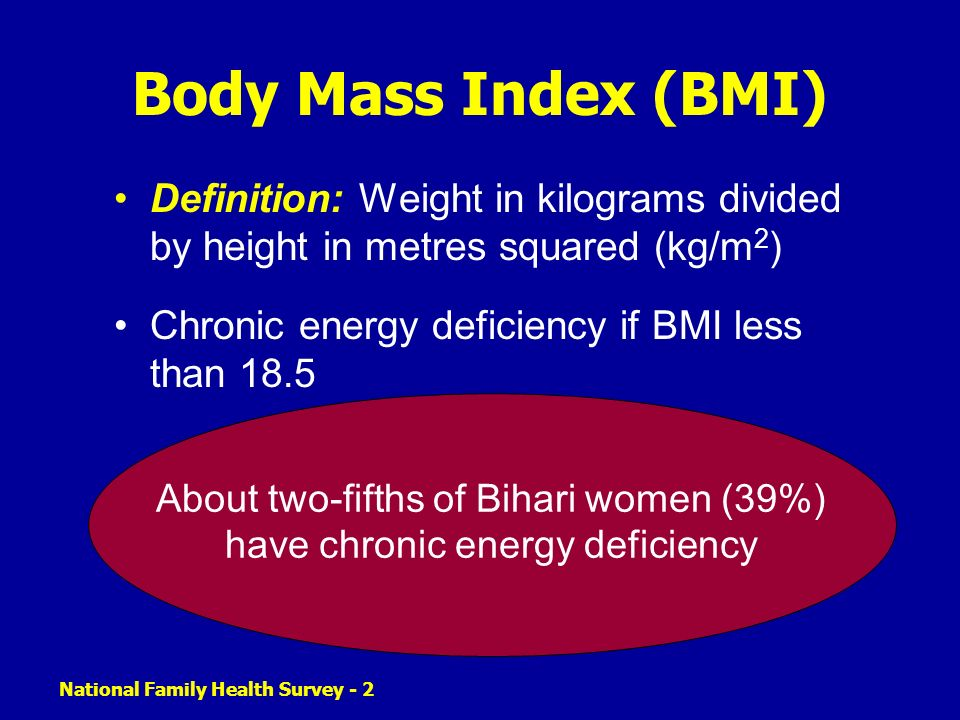 National Family Health Survey - 2 Body Mass Index (BMI) Definition: Weight in kilograms divided by height in metres squared (kg/m 2 ) Chronic energy deficiency if BMI less than 18.5 About two-fifths of Bihari women (39%) have chronic energy deficiency